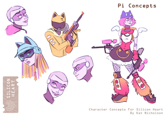 Preliminary concept art for Rho's friend Pi, for Silicon Heart